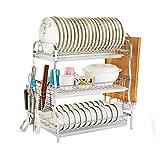 Stehendes Küchen-Gestell 304 Edelstahl-Abfluss-Teller-hackendes Brett-Essstäbchen-Rohr Multifunktionsdreischicht Haushalt Geben die lochende Lagerung 53.5cm * 28cm * 54.5cm Frei MUMUJIN