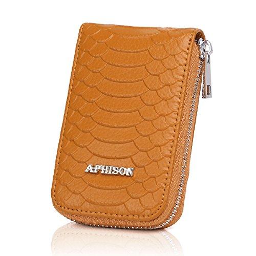 APHISONUK APHISONUK Damen RFID Schutz Blocking Leder Kartenetui Geldbörse minimalistische Portemonnaie Viele Fächer Veranstalter Kompakt für Frauen
