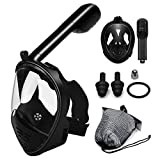 Full Face Snorkel Mask,180 Panoramic View Free Breathing Snorkelling Mask with Earplug Net