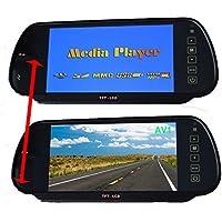 "7"" Coche Dentro Pantalla Espejo LCD MP5 SD, 12V Universal para Auto Espejo Monte Clip 2 RCA Canal para Cámara Reserva / Trasero Vista / DVD / Media Jugador"
