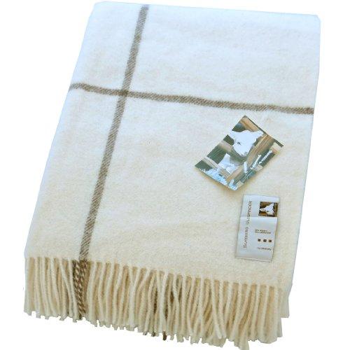 Extralange creme-braune Karo Wolldecke aus 50% Alpaka und 50% Schurwolle, ca 240x140cm 1100g (Braune Wolldecke, Die)