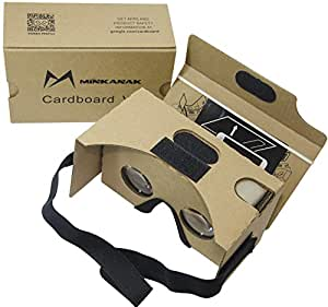 Google Cardboard Kit V2 di Big Lenti MINKANAK 3D Realtà Virtuale Cartone Occhiali con Testa e NFC, Compatibile con 3-15,24 cm Schermo Android e Apple Smartphone
