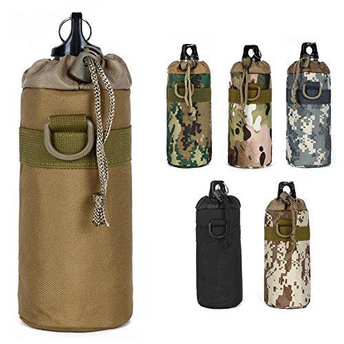 Taktische Wasserflaschen Halter Flaschentasche MOLLE Flaschenträger Trinkflasche Flaschenbeutel Nylon 18X8 cm für Sport Outdoor Wandern Camping CLSM