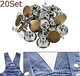 20set Metal Jean Tack Boutons à tige avec broches de remplacement 17mm par Shopidea