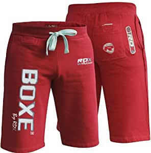 RDX Muay Thai Boxing Trousers SHORT Training MMA UFC Shorts Running Fitness red red Size:x-Large