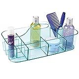MetroDecor mDesign Cesta de baño con asa – para Usar como Organizador de cosméticos, Caja organizadora para Cocina o toallero – Cesta para Ducha pequeña en plástico Resistente – Azul mar