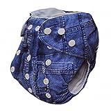 Alva Baby One Größe waschbar wiederverwendbar Tuch Windel Fit für 6–14,9kg Baby (Jeans) Zwei Einsätzen J01