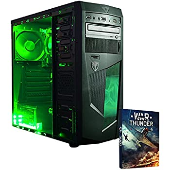 VIBOX Submission 6 Desktop Gaming PC - with WarThunder Game Bundle (3.8GHz AMD A8 Quad Core Processor, Integrated Radeon HD Graphics Card Chip, 1TB Hard Drive, 8GB RAM, Green Gamer Case, No Operating System)