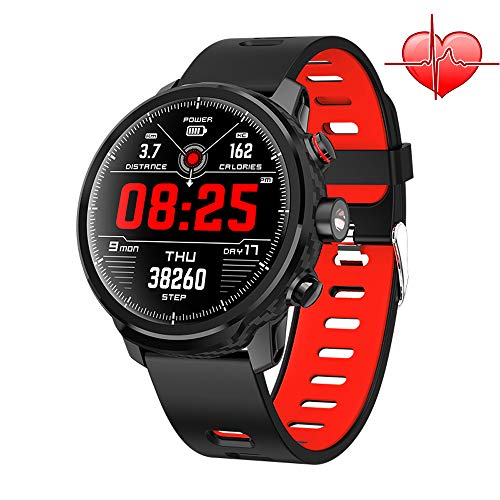Smartwatch Intelligente IP68 Wasserdicht Armbanduhr mit 1,3 Zoll OLED-Display LED Taschenlampe Herzfrequenzsensor (Android Wear, Wear OS by Google, NFC) Sportuhr Kompatibel mit Android und ios (Rot)