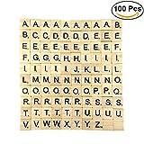 ULTNICE 100pcs Cartas de la letra Cartas de madera Juegos de los azulejos de Scrabble del reemplazo para deletrear Scrapbooking