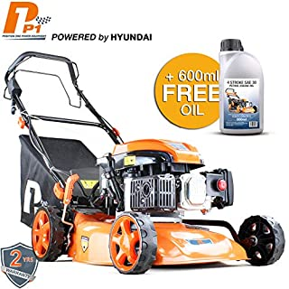 Hyundai P1PE P4600SPE 139cc Petrol Lawnmowers Self Propelled Key Electric Start 18 Inch 46 Centimetre Cutting Width, Steel Deck Lawn Mower, Included Engine Oil