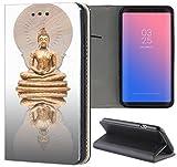 Samsung Galaxy S6 Hülle Premium Smart Einseitig Flipcover Hülle Samsung S6 Flip Case Handyhülle Samsung S6 Motiv (383 Buddha im Lotus Sitz Gold Weiß)