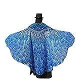 Amcool Schön Pfau Kostüm ✿✿Feenflügel Damen Karneval Cosplay Accessoires Pfau Flügel (197*125CM, Blau)