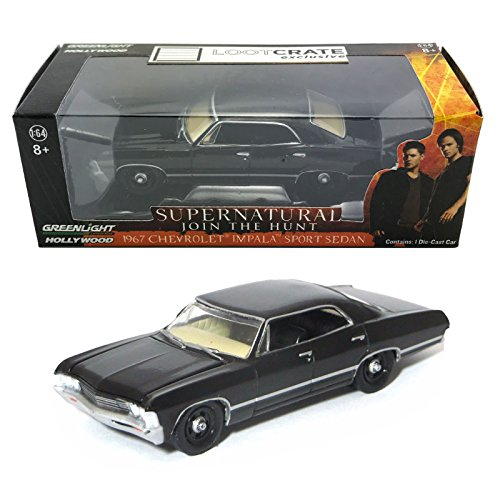 chevrolet-impala-sport-sedan-schwarz-supernatural-1967-modllauto-greenlight-164