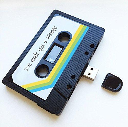 USB, diseño de casete retro, Quirky, música, fresco, lindo, amor, regalo, novio, novia, 80s, 90s, Gadget, Geek, oficina, novedad, cumpleaños, boda, aniversario, Valentines, Navidad, regalos para ella, regalos para él, Thoughtful, unidad flash, subir canciones, fotos y vídeos negro 4 GB