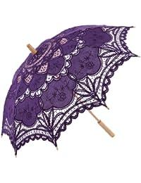 Topwedding de mariée en dentelle parasol parasol de coton avec de la broderie, pourpre