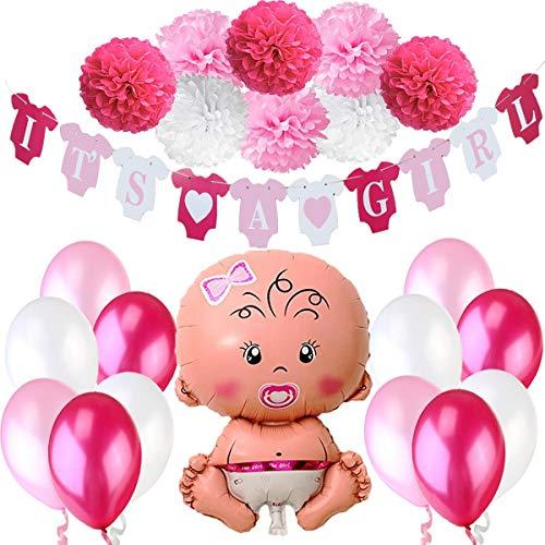 Jonami Decoraciones Fiesta de Bienvenida de Bebé Niña | Bandera Es Una Chica It's a Girl + Globo de Papel de Aluminio a Recién Nacida + 8 Pompones + 12 Globos. Accessorios Baby Shower
