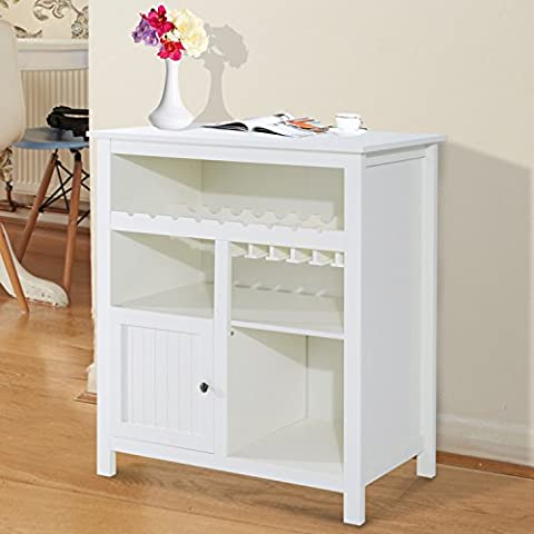 CLEARANCE HOMCOM Wooden Sideboard Buffet Cabinet Storage Unit Hutch Display Cupboard Server Side Table Dining Room Kitchen Furniture w/ 1 Door & Wine Rack