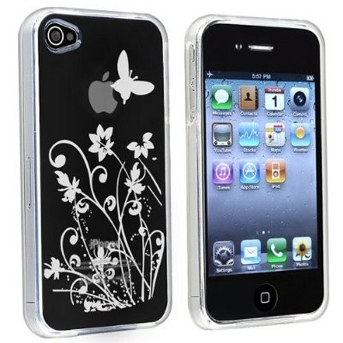 TPU Design Case for iPhone 4 / 4S (AT&T & Verizon) - Clear Flower with Butterfly Apple Iphone 4s Att 16gb
