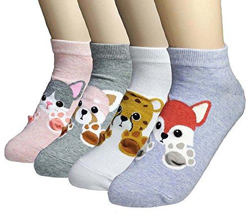 Ksocks Damen Casual Socken Geschenkset - niedliche Tiere, Cartoon-Charaktere, lustiges Design Gr. Einheitsgröße, Sweet Paws - 4 Pairs -