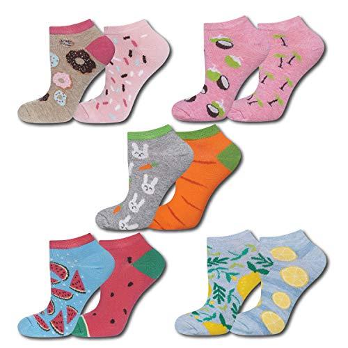 soxo Damen Sneaker Socken (5 Paar) | Kurze Socken für Frauen mit Lustigen Mustern | Größen 35-40 - Socke-tier-mustern