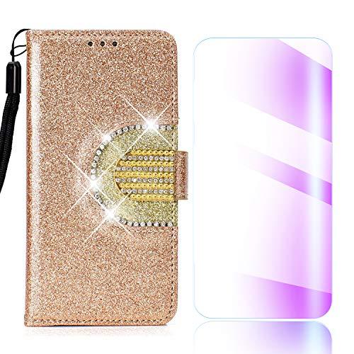 Galaxy S5 Hülle, The Grafu® Glitzern Spiegeln Stoßfest Leder Flip Schutzhülle mit Frei Hartglas Displayschutz, Kartenfächer Tasche für Apple Galaxy S5, Gold