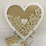 personalisierbar weiß Hochzeit Herzform Gästebuch Auswahlfeld Holz 76Herzen Hochzeitstag Geschenk Rustikaler Shabby Chic 45x 45cm
