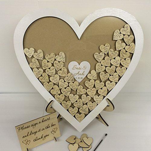 personalisierbar weiß Hochzeit Herzform Gästebuch Drop Box Holz 144Herzen Hochzeitstag Geschenk Rustikaler Shabby Chic 50x 50cm
