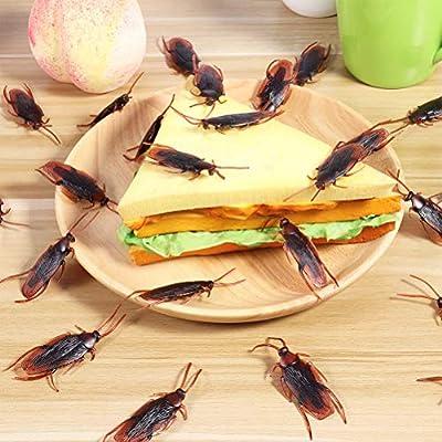 Toyvian Falsos cucarachas de simulación de cucarachas Novedad Cucarachas de plástico Insectos, Paquete de 60 de Toyvian