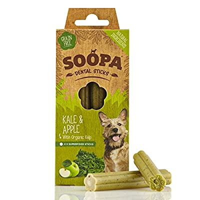 Soopa Kale and Apple Dental Sticks Dog Treat, 100 g