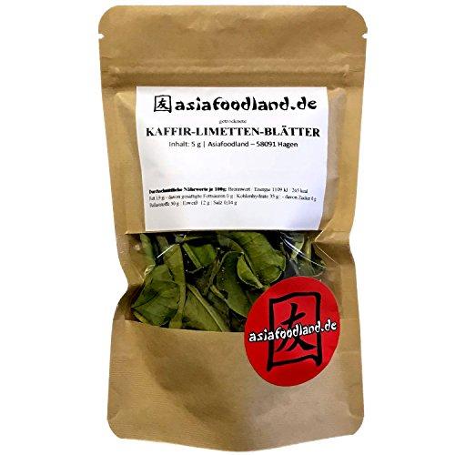 Asiafoodland - Kaffir Limetten Blätter - Kaffirlimettenblätter - Kaffir Limettenblätter bzw. Kaffernlimette - Lime Leave - getrocknet, 1er Pack (1 x 5g)