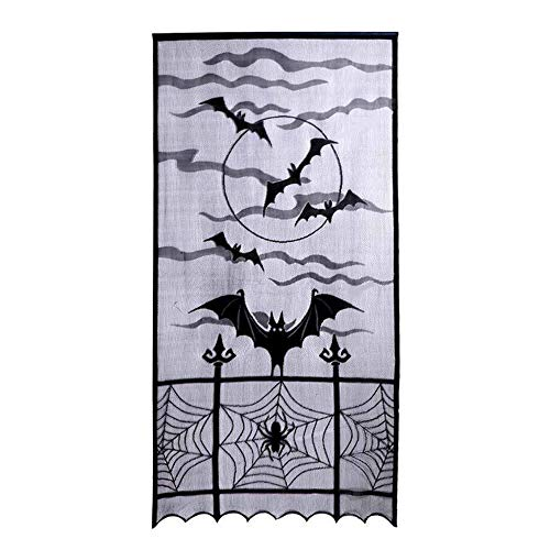 MAXGOODS Halloween Tür Vorhang Panel Schwarze Spinne Web Sheer Spukhaus Mansion Decor 101x213cm