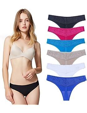 Encaje Sexy Braguita Tangas Pantalones de Mujer sin Costuras Señoras Bragas, Pack de 6