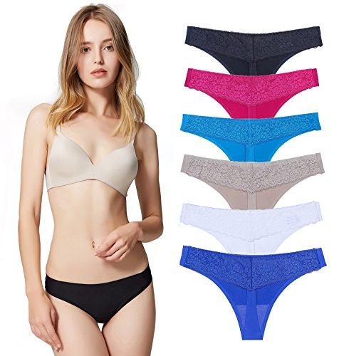 Encaje Sexy Braguita Tangas Pantalones de Mujer sin Costuras Señoras Bragas, Pack de 6 L