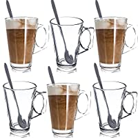 LETTUCE EAT ® SET OF 6 LATTE GLASSES TEA COFFEE CAPPUCCINO GLASS CUPS HOT DRINK MUGS FREE SPOONS (Fits Tassimo & Dolce Gusto)