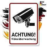 Achtung Videoüberwachung Schild | 14x20 cm aus Aluminium (hochkant) | Warnschilder/Hinweisschilder Videoüberwacht