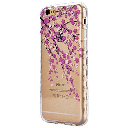 Coque iPhone 6S, Etui iPhone 6 Clair, GrandEver Housse Silicone Transparente Clair Back Case pour iPhone 6S/6 Attrape Rêve Motif TPU Bumper Cover Caoutchouc Doux Gel Couverture Coquille Rubber Gel SKi Rose