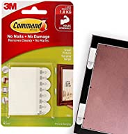 Command 17202ES Picture Hanging Strips, Small, Holds 1.8 Kg. whole pack, white color. 4 pairs/pack, Decorate D