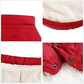 Kismaple Dog Cosy Fleece Jacket Puppy Winter Lined Coat Clothes Warm Padded Vest For Small Dog Clothing Red (Xs:9 Inches Length) 3