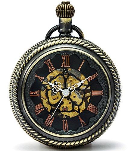 SEWOR New Design Big Case Flower Dial Magnifier Glass Mechanical Hand Wind Pocket Watch (Silver)