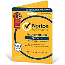Norton Security Deluxe Antivirus Software 2018 incl. Norton Utilities / Anti-Virus Protection and Maintenance Software for 5 Devices (One-Year Licence) / Download for Mac, Windows, iOS and Android