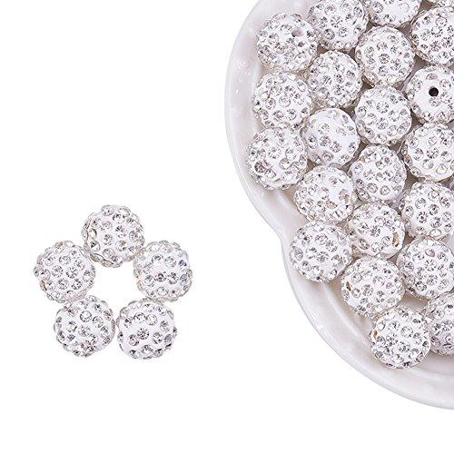 NBEADS 100Stück, 12mm, Polymer-Ton, Strass Diskokugel-Perlen mit Shamballa inspirierte, Loch: 5mm, kristall