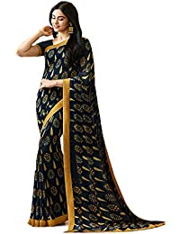 KAMELA SAREE women's silk material Blue & Yellow colour Printed Party wear saree With Blouse