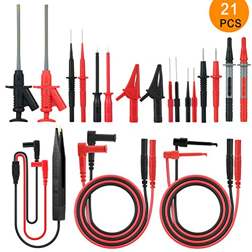 Messleitungen, Meterk 21-in-1 Multimeter Elektronische Messleitungen Zubehör Kit mit Testverlängerung, Testsonde, Krokodilklemme und SMD Patch Test Clip(MK30)