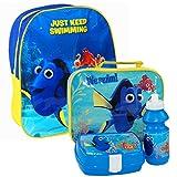 Disney® Pixar - Zaino e set per il pranzo, per bambini, tema: alla ricerca di Nemo, set composto da una borsa, un contenitore porta panino e una borraccia, adatto a scuola o viaggi