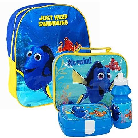 Disney® Pixar Findet Dory, Nemo Schulset für Kinder, bestehend aus Rucksack, Essenstasche, Frühstücksdose und Trinkflasche