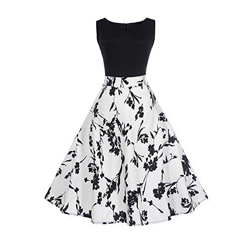 KPILP JY10061 Robe Imprimée à La Taille Imprimée Vintage Hepburn pour Femmes Robe à 'Audrey Hepburn' Classique Vintage 50's 60's Style à Mancheron (Blanc,XXL)
