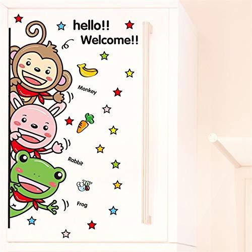 ELGDX Wandaufkleber Cartoon Affen Hallo Willkommen Zitat Türschild Dekoration Wandtattoos Wohnzimmer Eingang Dekorative Vinyl für Haus (Willkommen Baby Dekorationen Mädchen Hause Zu)