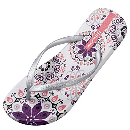 Hotmarzz Chanclas para Mujer Bohemia Flor Elegante Sandalias Verano Playa Piscina Ducha Flip Flops Size 35 EU / 36 CN, Plateado