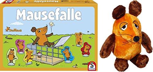 Die Maus / Sendung mit der Maus - Schmidt Spiele 40505 Mausefalle + Plüschfigur Maus (25 cm) im Set - Deutsche Originalware